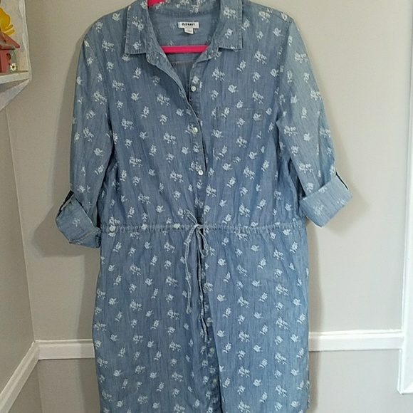 Old Navy Dresses & Skirts - Jean Shirt Dress Tab Sleeves Large